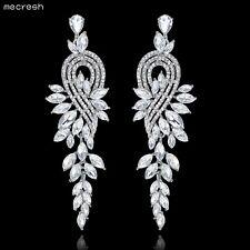 Mecresh Silver/Gold Crystal Leaves Long Earrings Women Bridal Jewellery MEH946
