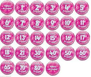 """18"""" PINK FOIL BALLOON """"HAPPY AGED BIRTHDAY"""" CELEBRATION CHOOSE AGES FROM 1 TO 21"""