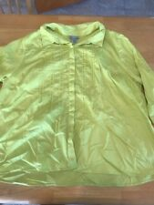 Maggie Barnes For Catherines Sz 2X Mid Sleeve Yellow Blouse Frill Hidden Buttons