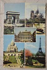 """CPSM """" PARIS - Arc de Triomphe, Notre-Dame, Opéra, Sacré-Coeur, Tour Eiffel"""