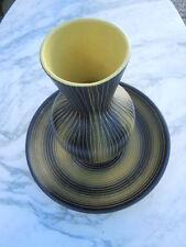 Vase graphisme minimaliste plat céramique St Clément France vers 1950