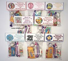 50 Personalised Sweet Bag WRAPPERS Birthday 50th 60th 65th 70st 80th 90th ANYAGE