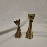 "Cute Pair of Tiny Mini Vintage Brass Siamese Kitty Cat Figures - 2.75"" & 3"" Tall"