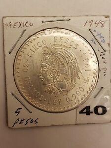 1948 Mexico 5 Pesos Aztec Chieftain 'Cuauhtemoc' 900 Silver 30 Gr.           BU