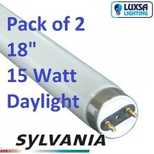x2 Sylvania 18 inch 15W 15 Watt 865 Daylight tube T8 F15/865 blub 438 mm