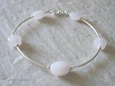 Baby Pink Rose Quartz Faceted Oval Beads & Sterling Silver Curve Tubes Bracelet