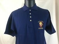 VTG NEW NOS Masai Mara Kenya Navy Blue Polo Shirt Bunny Size L Embroidered Lion