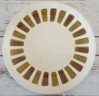 "Royal Ironstone Santa Fe Dinner Plate 10"" Mid Century Made in USA White Brown"