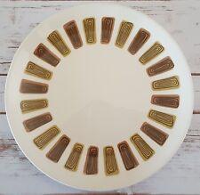 "Royal Ironstone Santa Fe Dinner Plate 10"" Midcentury Made in USA White Brown"