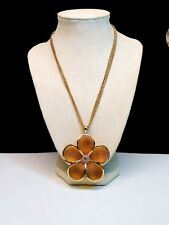 Vintage Yousi Gold  Resin Flower Statement Necklace