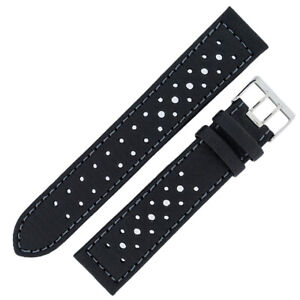 Di-Modell RALLYE Waterproof Sport Racing Perforated Leather Watch Strap BLACK 22