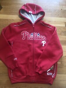 Philadelphia Phillies Stitches Jacket Ribbed Fleece Lined Nwt Kids Med Zipper