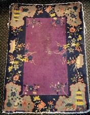Vintage Hand-Knotted Wool CHINESE ART DECO RUG Carpet Blue&Taupe Small Old Rare
