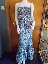 "F+F Strapless Frilled Hem Glitter & Bead Detail Maxi Dress 8 Ch 33""Blue Mix BNWT"