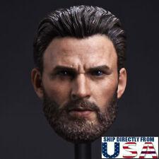 1/6 Chris Evans Captain America Head Sculpt For TBLeague Hot Toys Figure U.S.A.