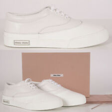 39 NEW $550 MIU MIU Woman's White Soft NAPPA LEATHER & Rubber Low Top SNEAKERS