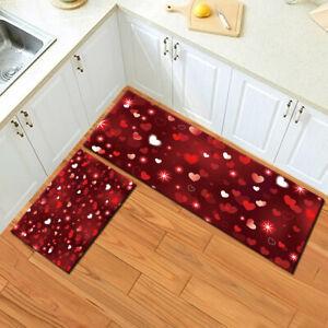 Fantasy Red Heart Starlight Kitchen Area Rug Non-Slip Mat Durable Doormat Carpet