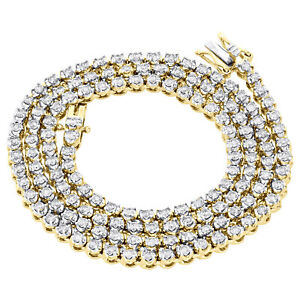 """10K Yellow Gold 3.50mm Round Diamond Prong Set Tennis Chain 22"""" Necklace 7 CT."""