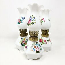 Mini Oil Lamp White Floral Knob Flower Pattern Feet Porcelain Vintage Antique
