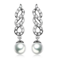 Spiral 18K White Gold Filled Pearl Topaz Stylish Women Dangle Earring Engagement