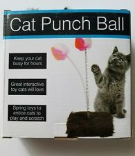 Cat Fluffy Ball Spring Toy Fuzzy Furry Base Interactive Punch Fun New In Box