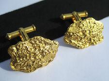 Vintage Men's Solid 12K Gold Filled Emboss Nugget Cufflinks Signed & Hallmarked