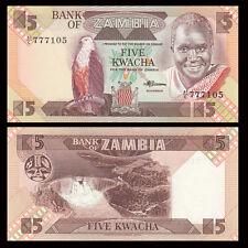 Zambia 5 Kwacha, Banknotes Money, 1986-88, P-25d, UNC
