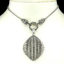 Sterling Silver 925 Genuine Marcasite Encrusted Large Designer Necklace 16 Inch