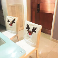 Christmas White Reindeer Chair Back Cover Xmas  Kitchen Dinner Party Home Decor