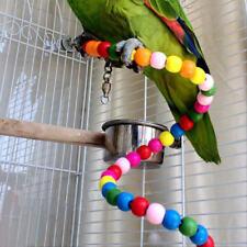 Cage Bird Parrot Bites Budgie Cockatiel Stand Wooden Hanging Swing Chew Pet Toy