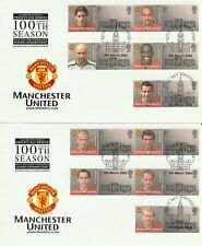 More details for gb 6 march 2002 manchester united customised sheets on 2 benham first day cards