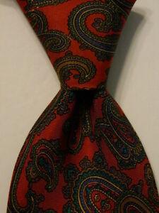 PAVONE Men's 100% Silk Necktie ITALY Luxury PAISLEY Red/Blue/Gold/Black EUC Rare