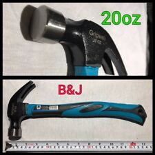 20oz Claw Hammer 30mm face Black / Blue Fiberglass Handle with rubber grip Tool