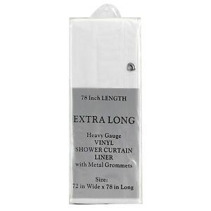 "Carnation Home Fashions Extra Long Size  Wide 5-gauge Shower Liner:72"" W x 78"" L"