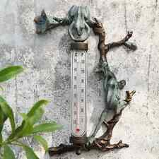 "Frog Thermometer Wall Mounted Outdoor Garden Verdi Bronze Patina - Large 16""H"
