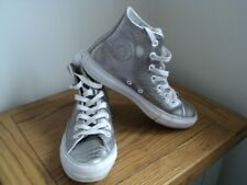 Converse Leather Silver Hi-Top Size UK4