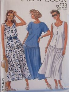 Lovely OOP NEW LOOK 6533 Misses Drop-waist Dress in 3 Looks PATTERN 8-20 UC