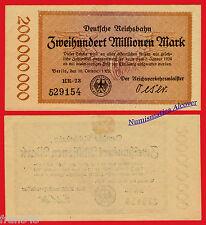 GERMANY REICHSBAHN Berlin 200000000 200 Million  mark 1923 Pick S1018  XF