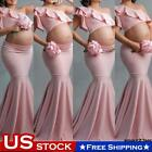 Maternity Pregnant Ruffle One Shoulder Crop Tops+Maxi Skirt Photography Dresses