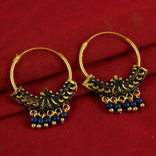 Indian Designer Traditional Beaded Hoop Gold Plated Earring Fashion Jewellery