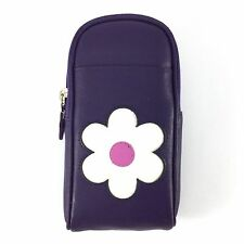 Purple LEATHER Zipped Glasses Spectacles Case Pouch  MALA LEATHER Mollie Floral