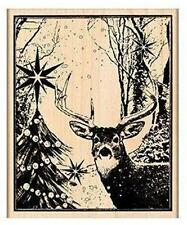 NEW PENNY BLACK RUBBER STAMP Enchanted Forest deer in woods Free us ship mntd
