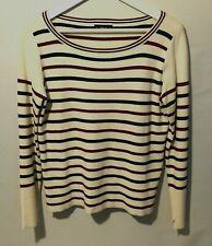 Zara Ladies Jumper L Cream Wine Green Striped Boat Neck Soft Heavy Knit Comfort
