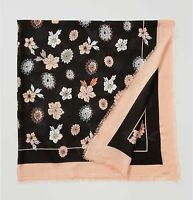 ANN TAYLOR LOFT Floral design In Bloom scarf black peach square flowers