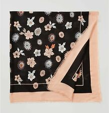 ANN TAYLOR LOFT Floral design In Bloom scarf black peach square flowers