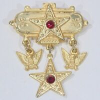 Vintage Victorian revival USA patriotic stars eagles pin brooch goldtone dangles