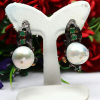 NATURAL WHITE BAROQUE PEARL & GREEN EMERALD EARRINGS 925 STERLING SILVER