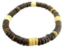Wood Bead Bracelet Men Women Small Coconut Shell Bead Stretch Elastic Lot of 10