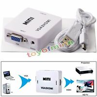 VGA To HDMI HD 1080P HDTV Video Audio Converter Box Adapter For PC Laptop DVD