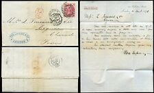 GB QV 1871 THREEPENCE Pl.6 BJ on COVER LONDON to COGNAC..PAU LA CAVE + CO CACHET